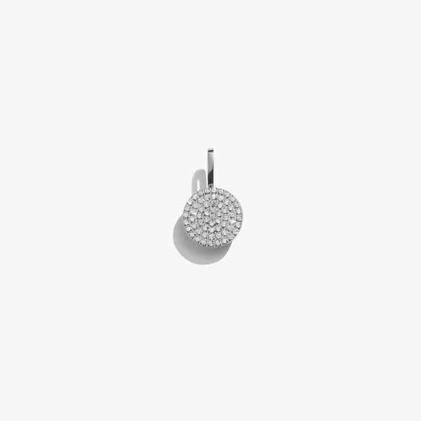 Pendant - White Diamante Circle Pendant - Silver