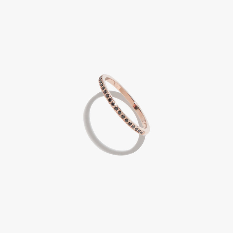 Black Diamante Satellite Ring - Rose Gold