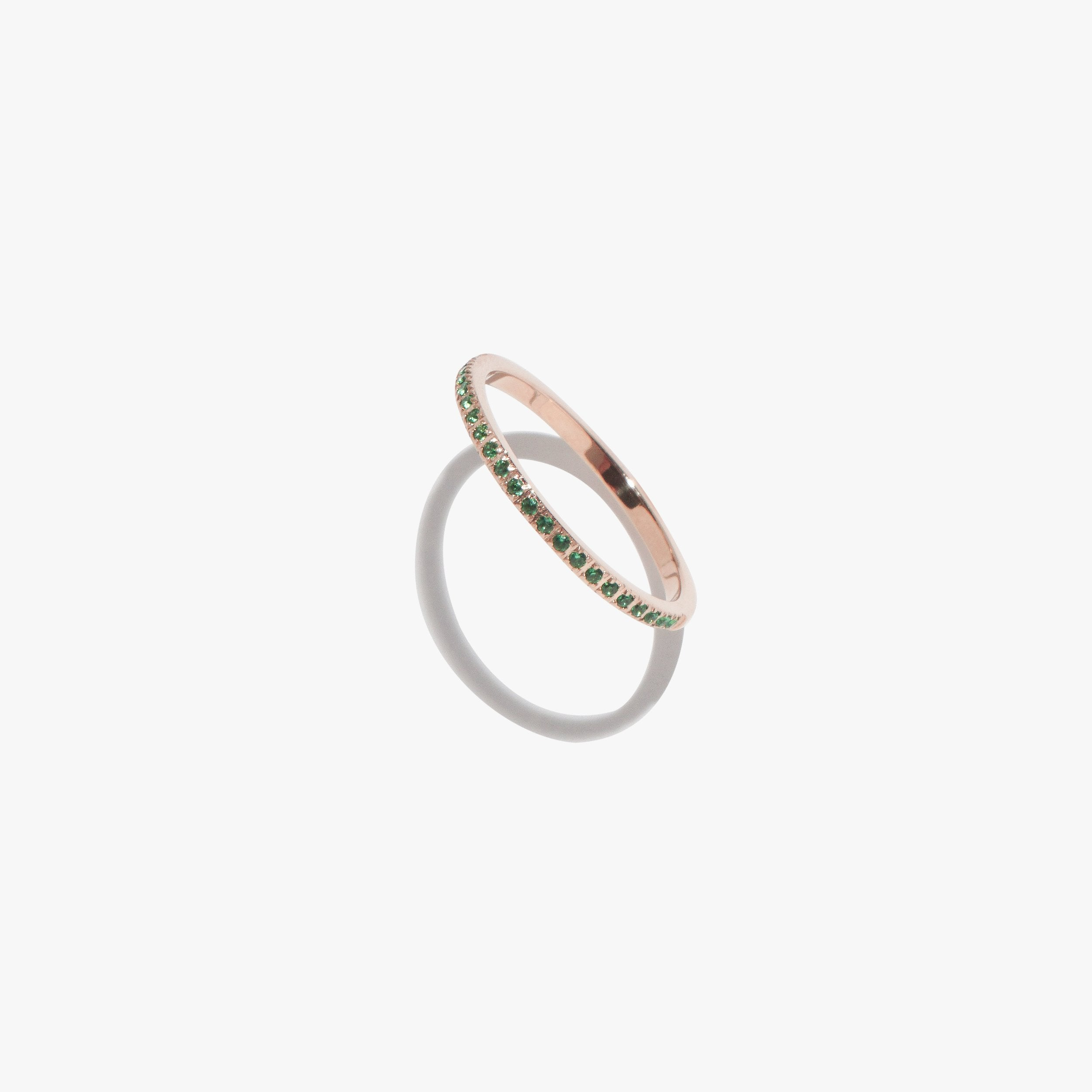 Rings - Emerald Satellite Ring - Rose Gold