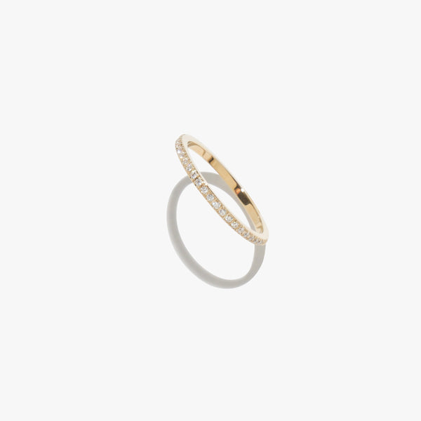 Rings - White Diamante Satellite Ring - Gold