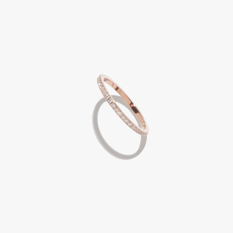 Rings - White Diamante Satellite Ring - Rose Gold