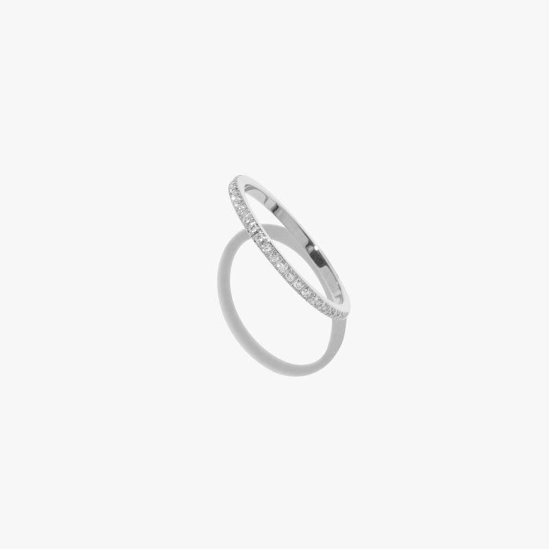 White Diamante Satellite Ring - Silver