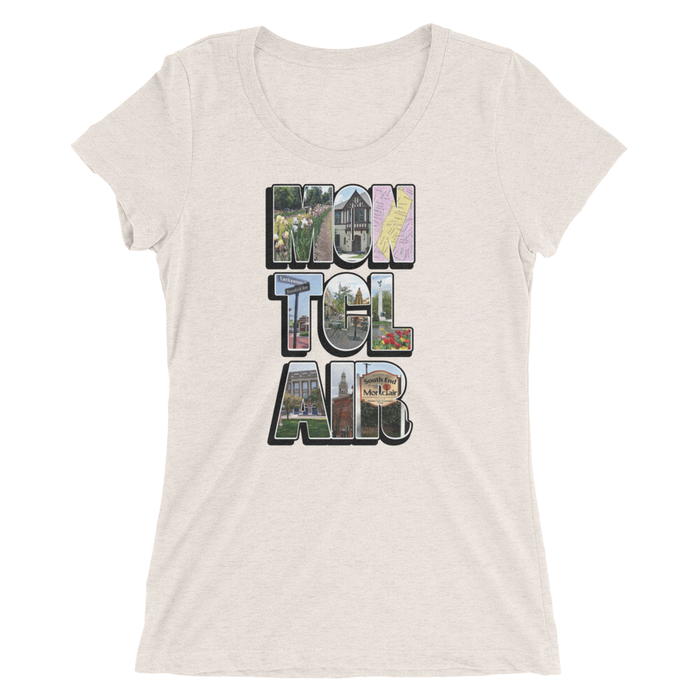 The 'Clair Collage - Ladies' Tri-Blend short sleeve t-shirt
