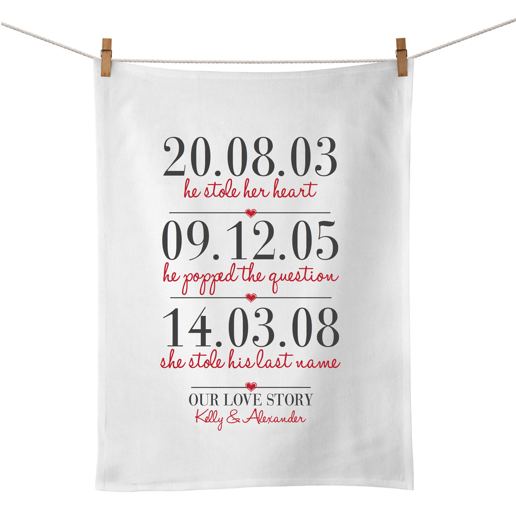 3 Dates (Our Love Story) Tea Towel