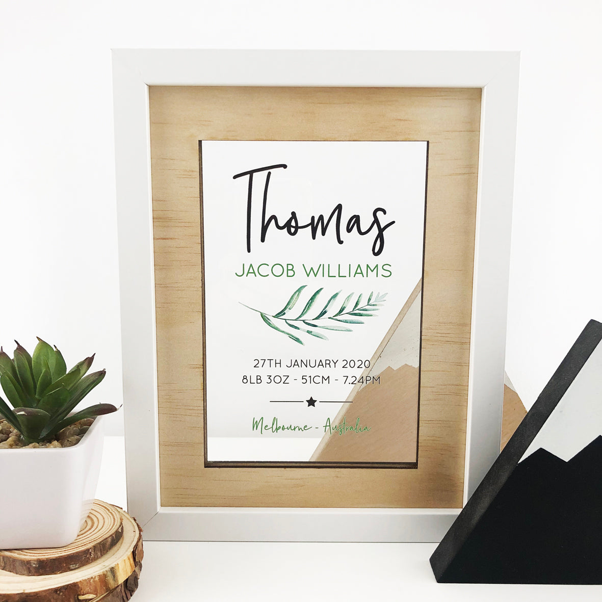 Personalised Fern Birth Details Acrylic Frame