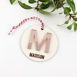 Acrylic Initial Name Ornament - Rose Gold Mirror