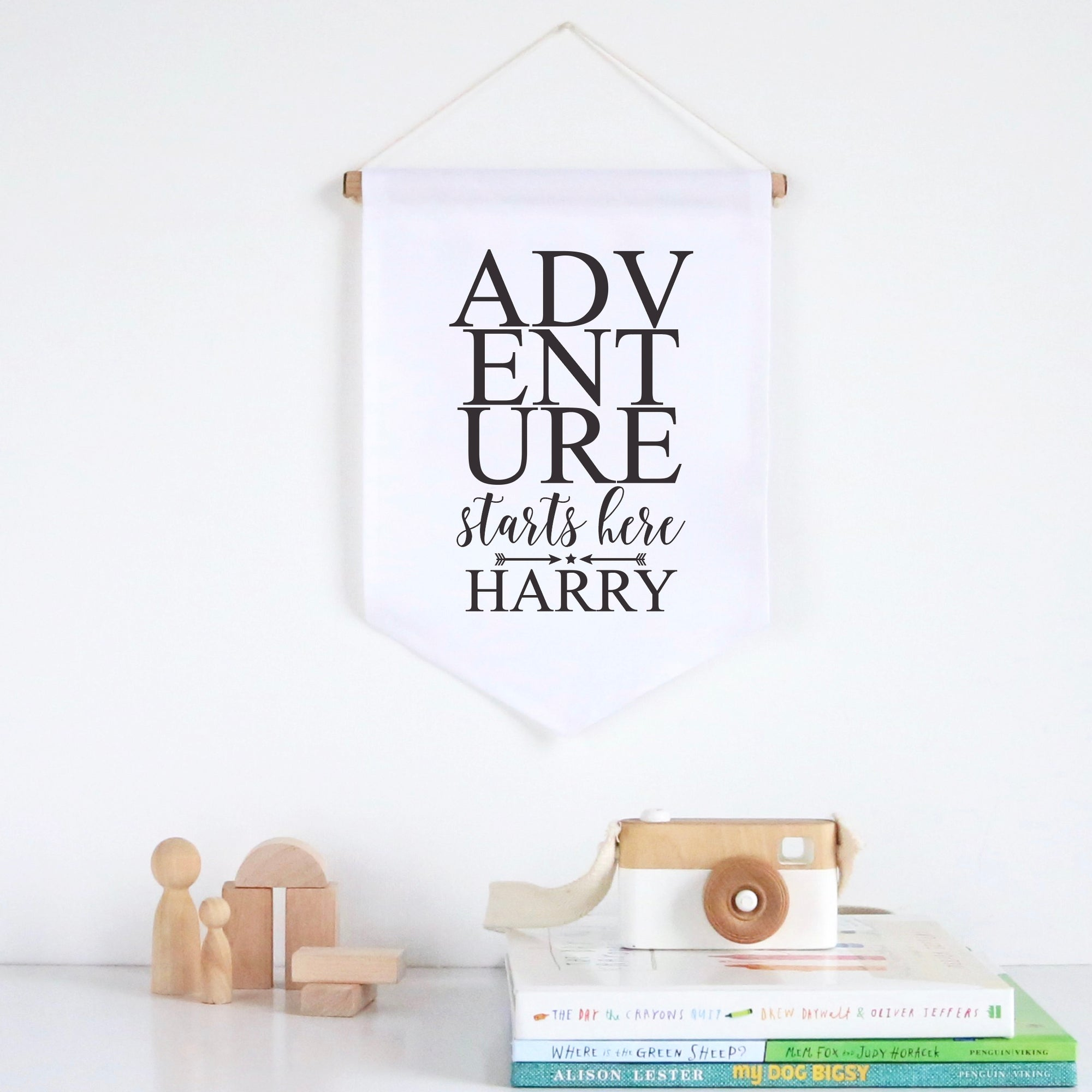 Adventure Starts Here Pennant Wall Banner