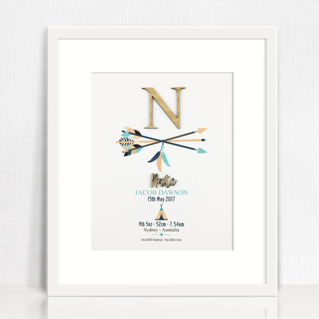 Bamboo Arrows Birth Print