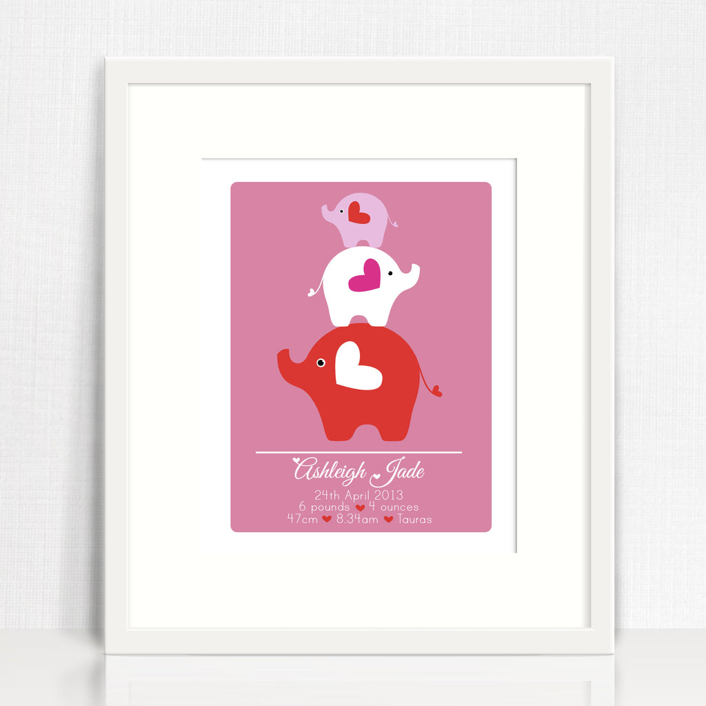 Ashleigh Elephants Birth Print