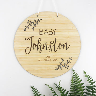 Pregnancy Announcement Bamboo Plaque