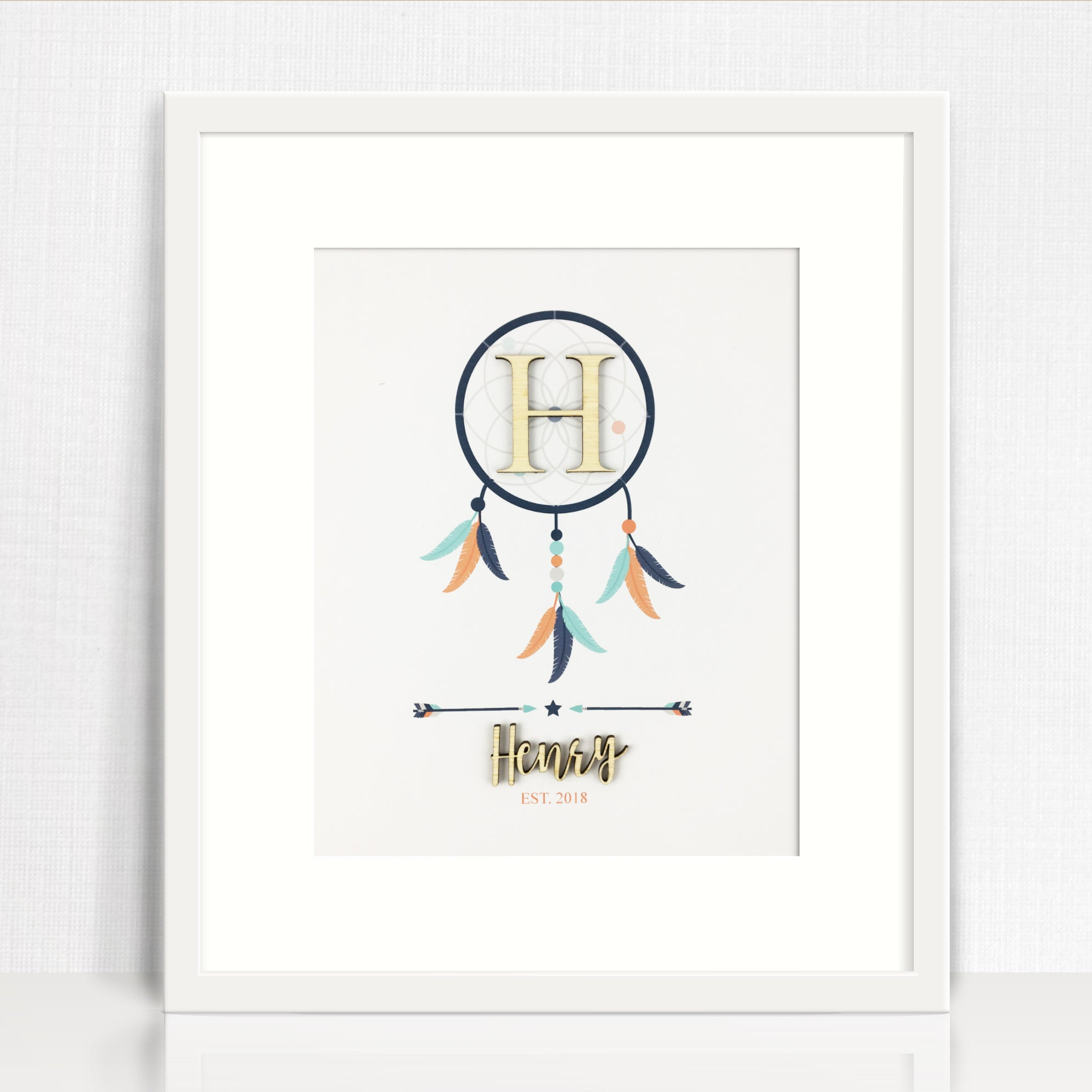 Bamboo (2 colour options) Dreamcatcher Name Print