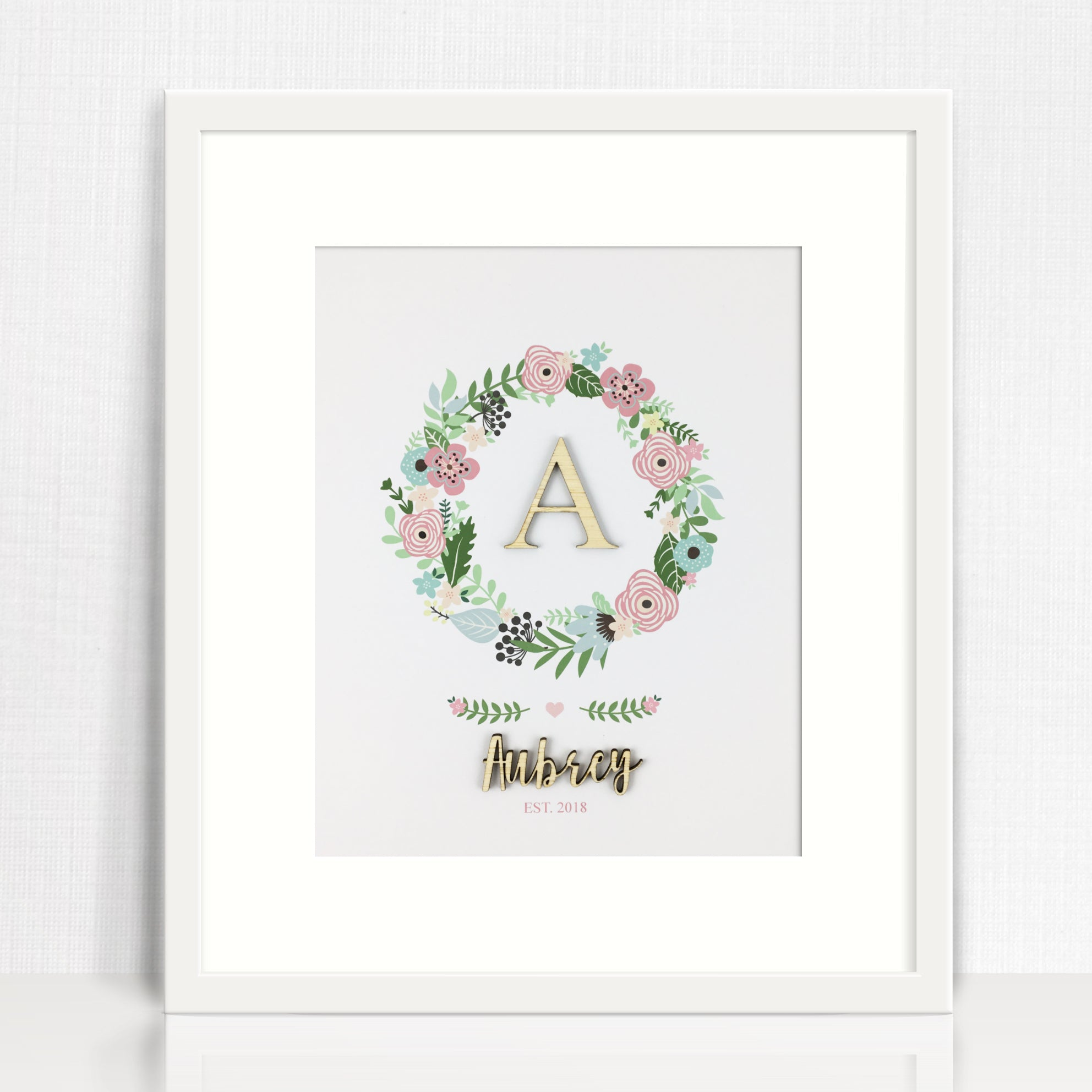 Bamboo (2 colour options) Wreath Name Print