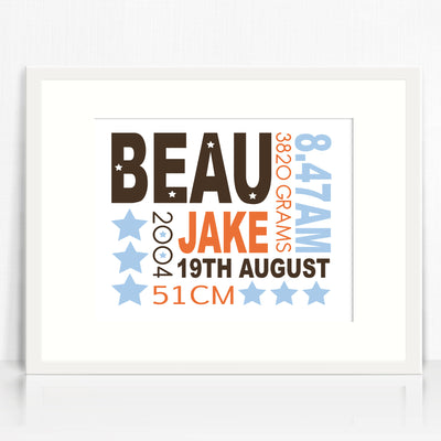 Beau Text Birth Print