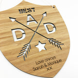 Best Dad Personalised Shield Bamboo Wall Hanging