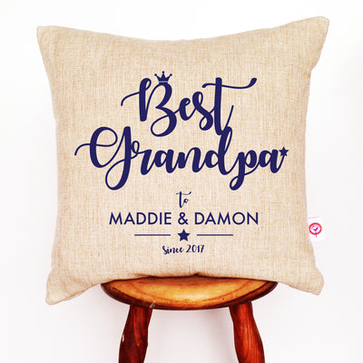 Best Dad Text Linen Cushion Cover - various colours