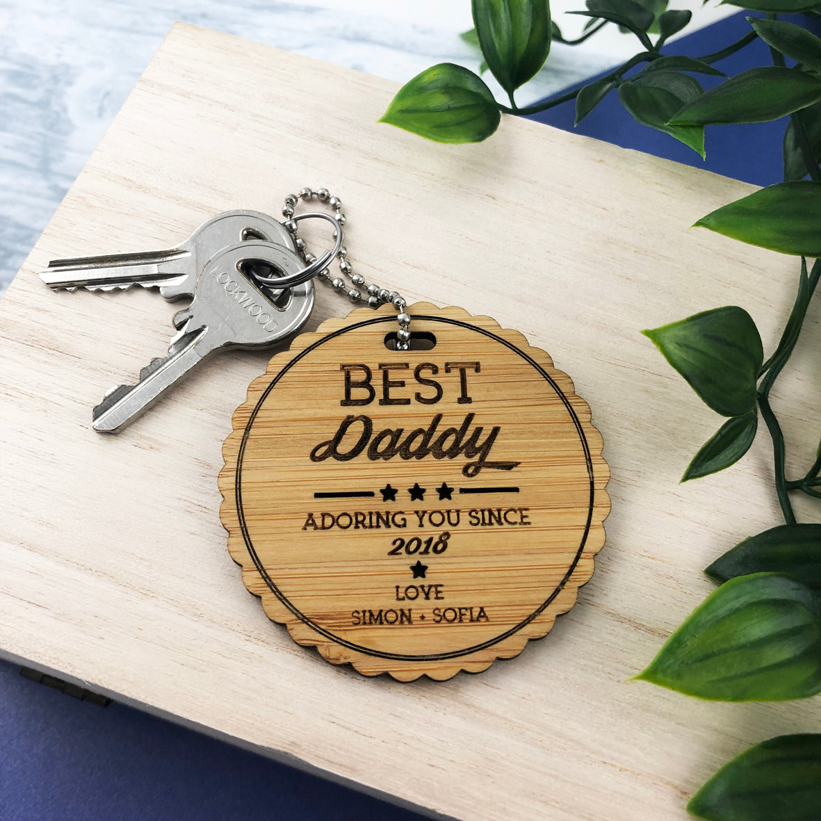 Best Daddy Personalised Bamboo Keyring