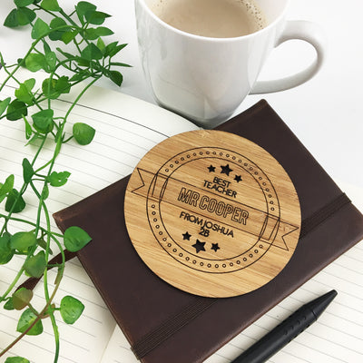 Personalised Best Teacher Drink Coaster
