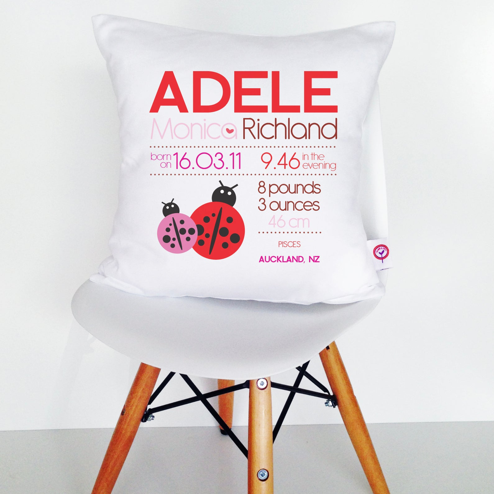 Adele Birth Details Cushion Cover