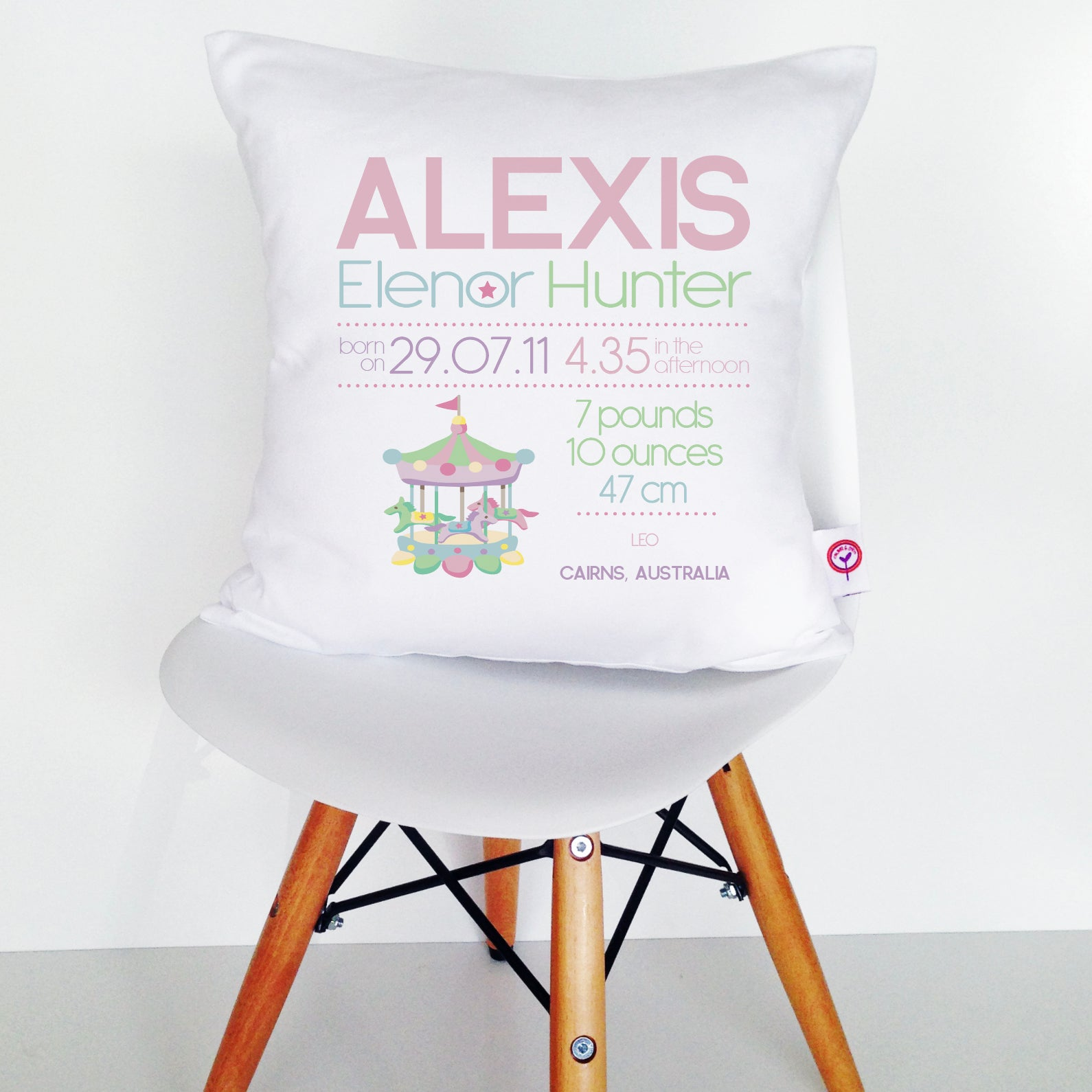 Alexis Birth Details Cushion Cover