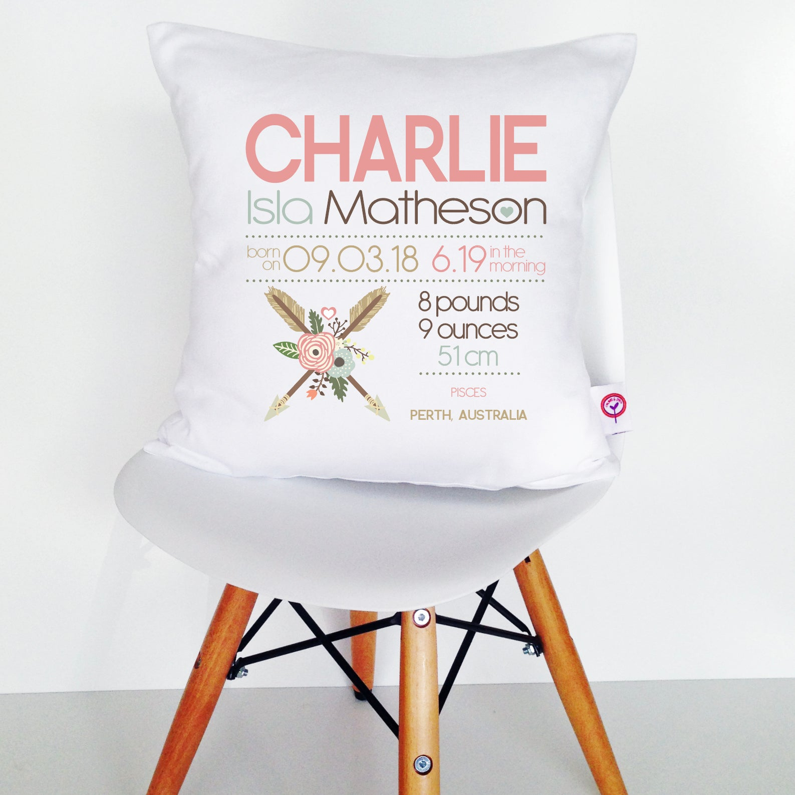 Charlie Birth Details Cushion Cover