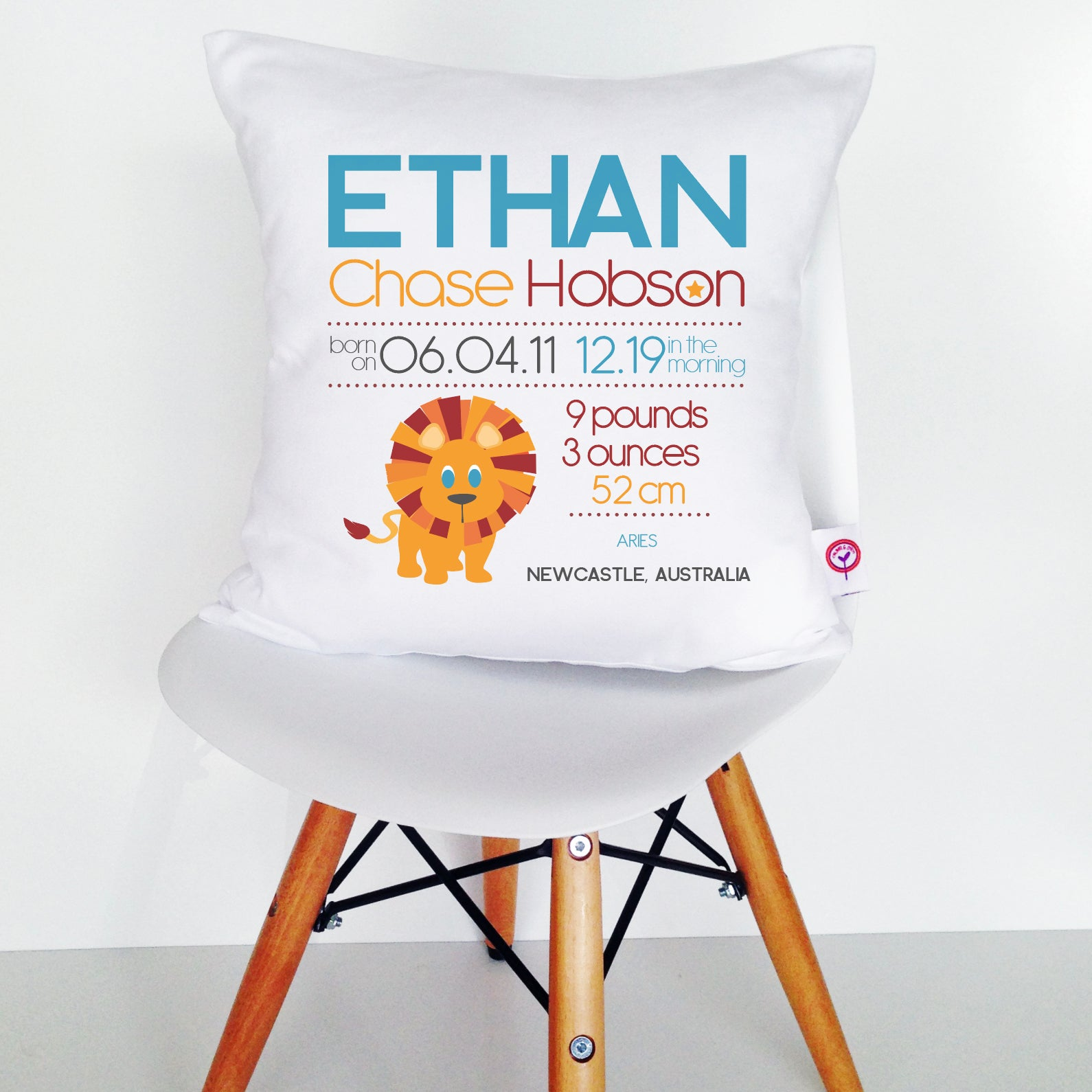 Ethan Birth Details Cushion Cover