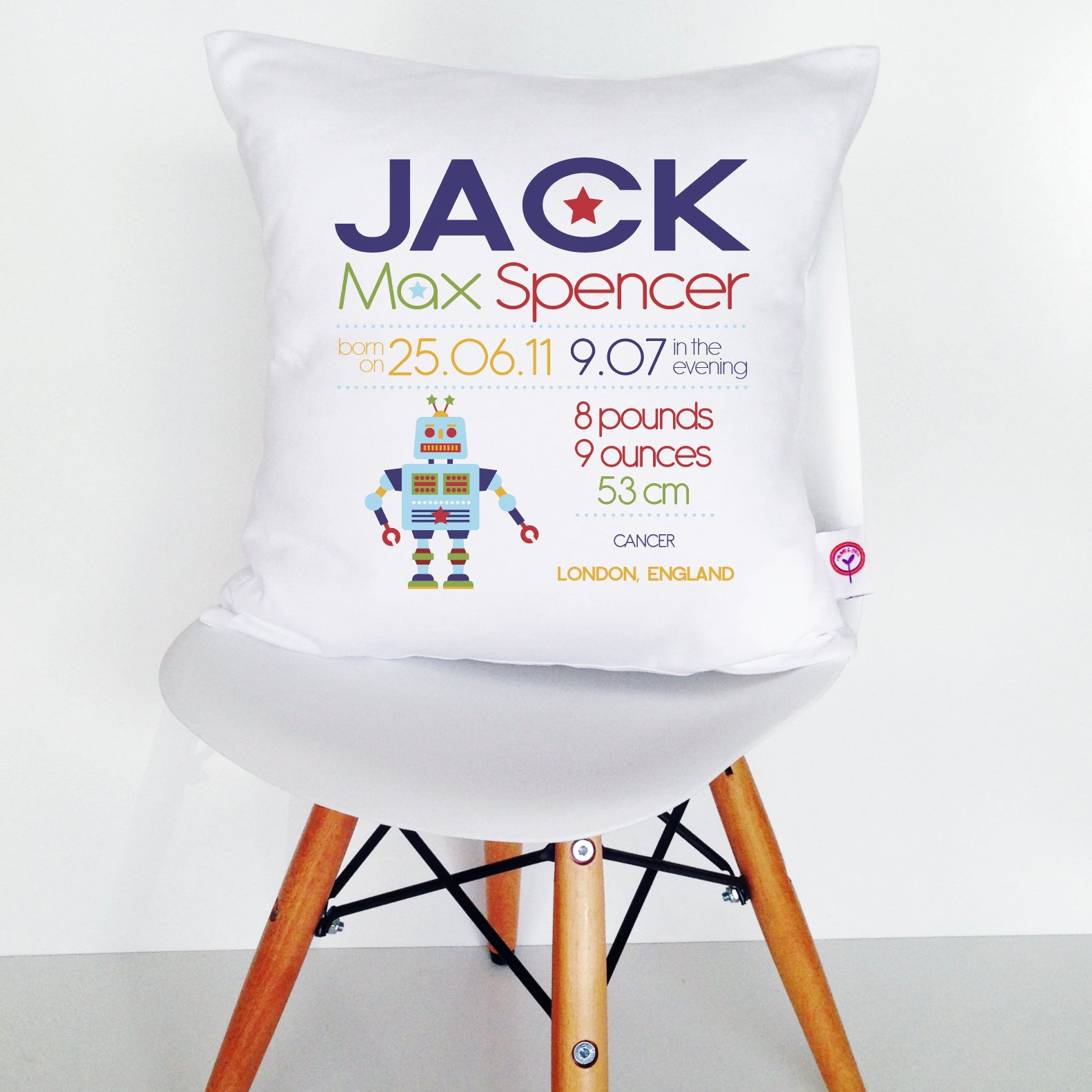 Jack Birth Details Cushion Cover