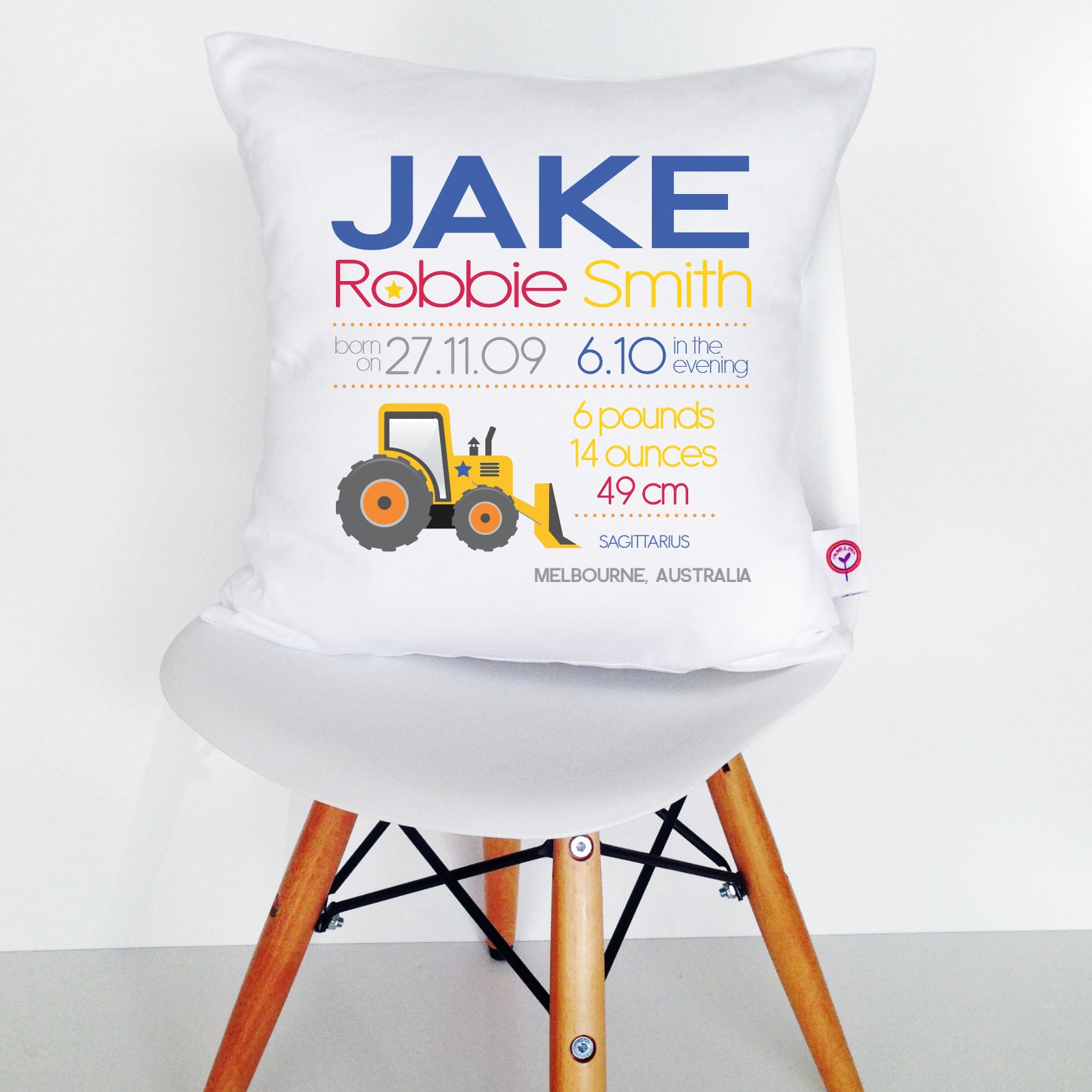 Jake Birth Details Cushion Cover