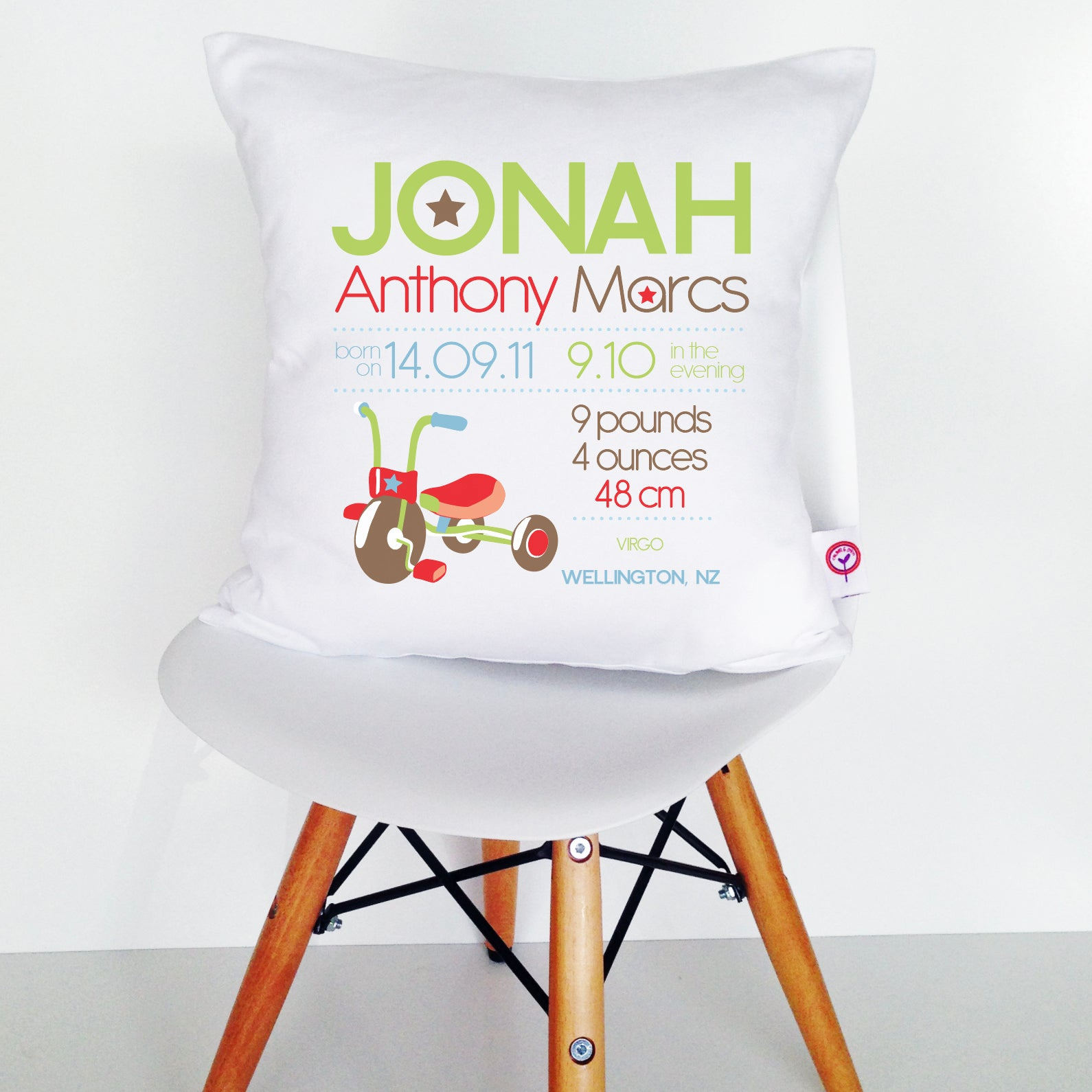 Jonah Birth Details Cushion Cover