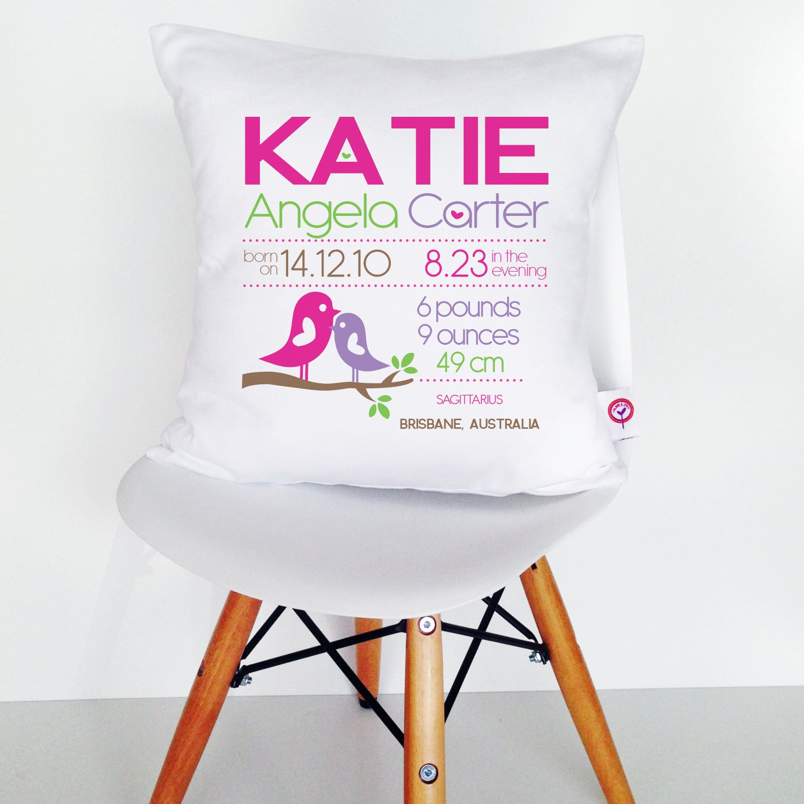 Katie Birth Details Cushion Cover