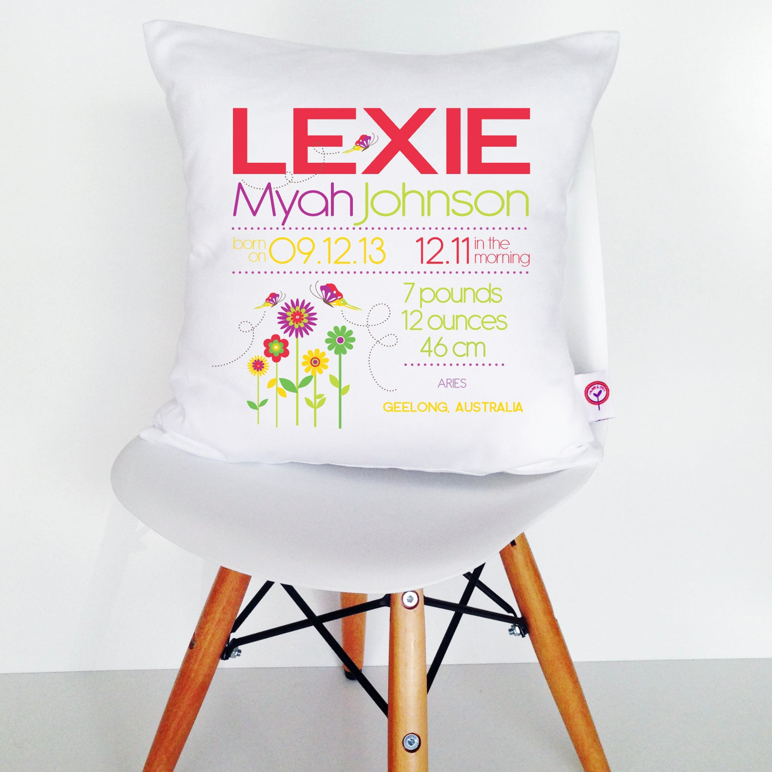 Lexie Birth Details Cushion Cover