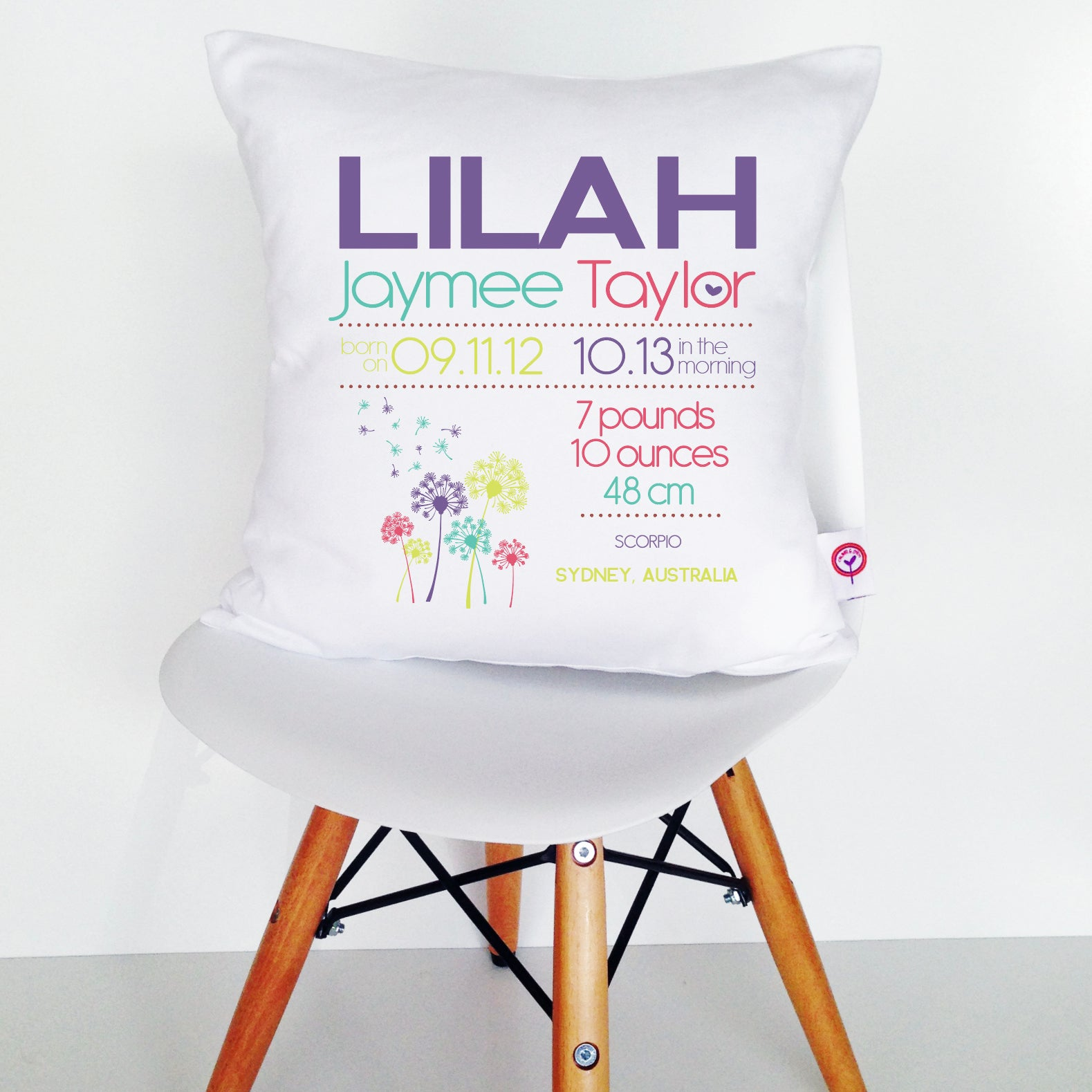 Lilah Birth Details Cushion Cover