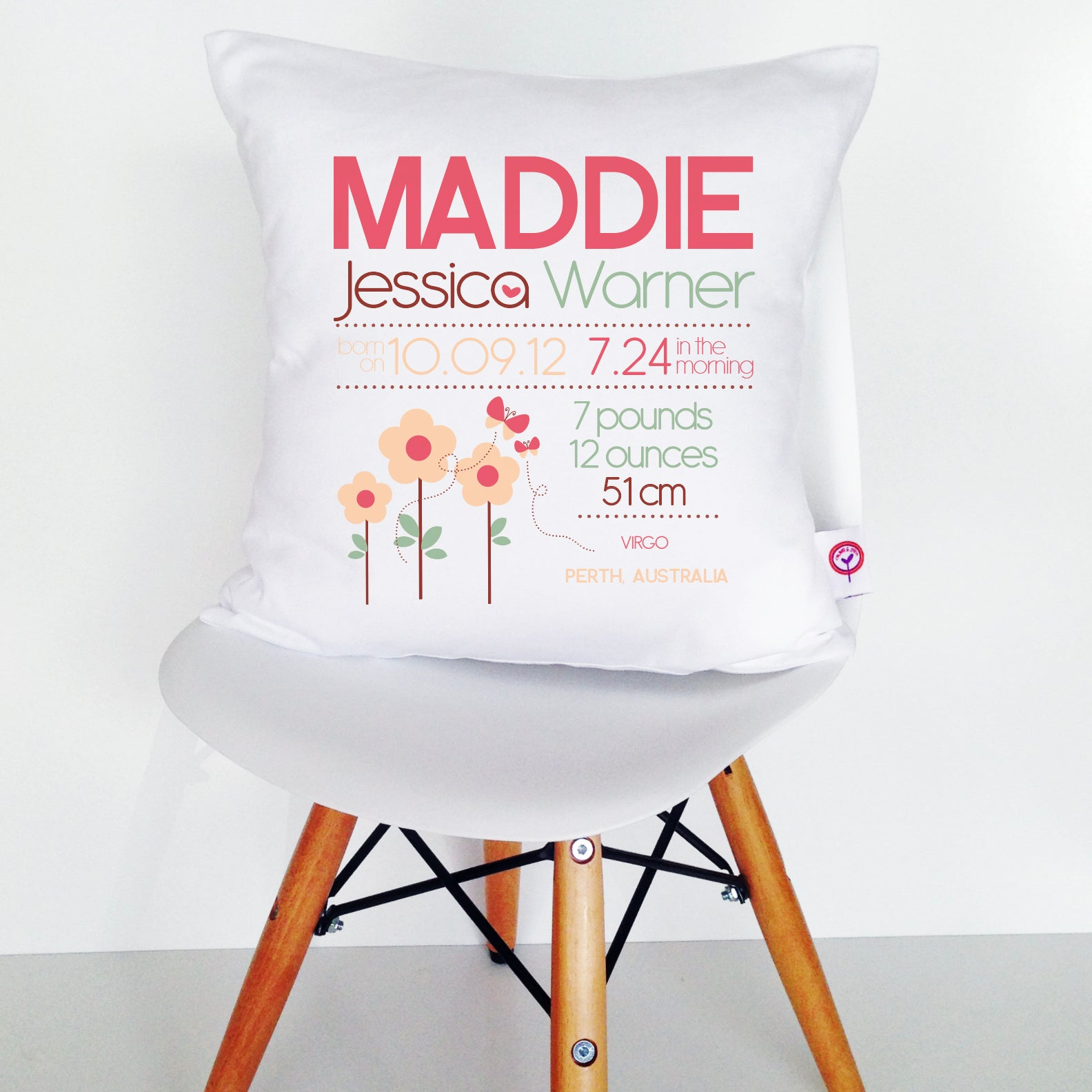 Maddie Birth Details Cushion Cover