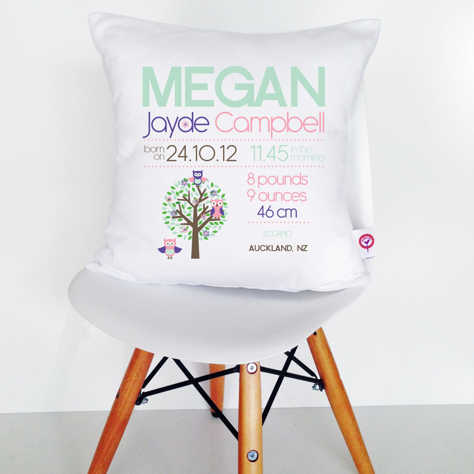 Megan Birth Details Cushion Cover