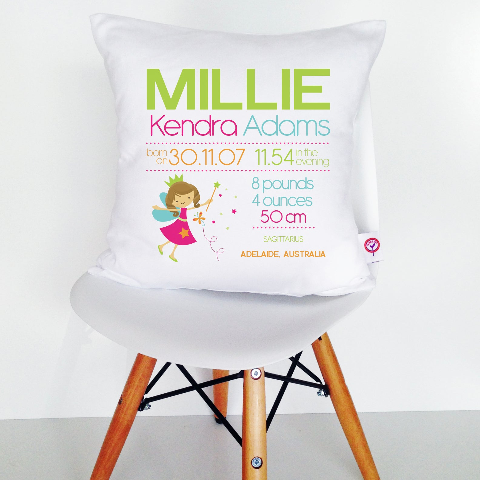 Millie Birth Details Cushion Cover