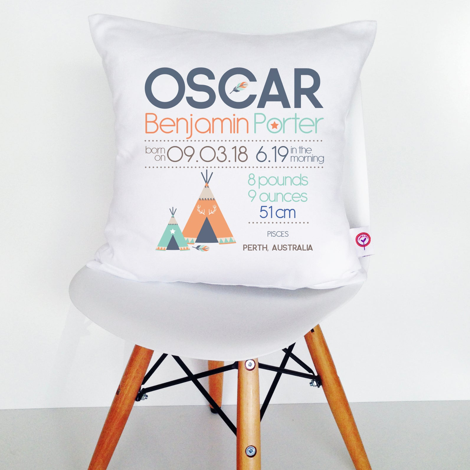 Oscar Birth Details Cushion Cover