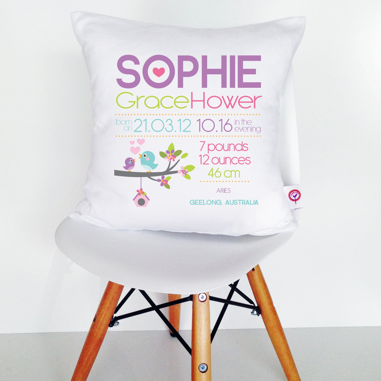 Sophie Birth Details Cushion Cover