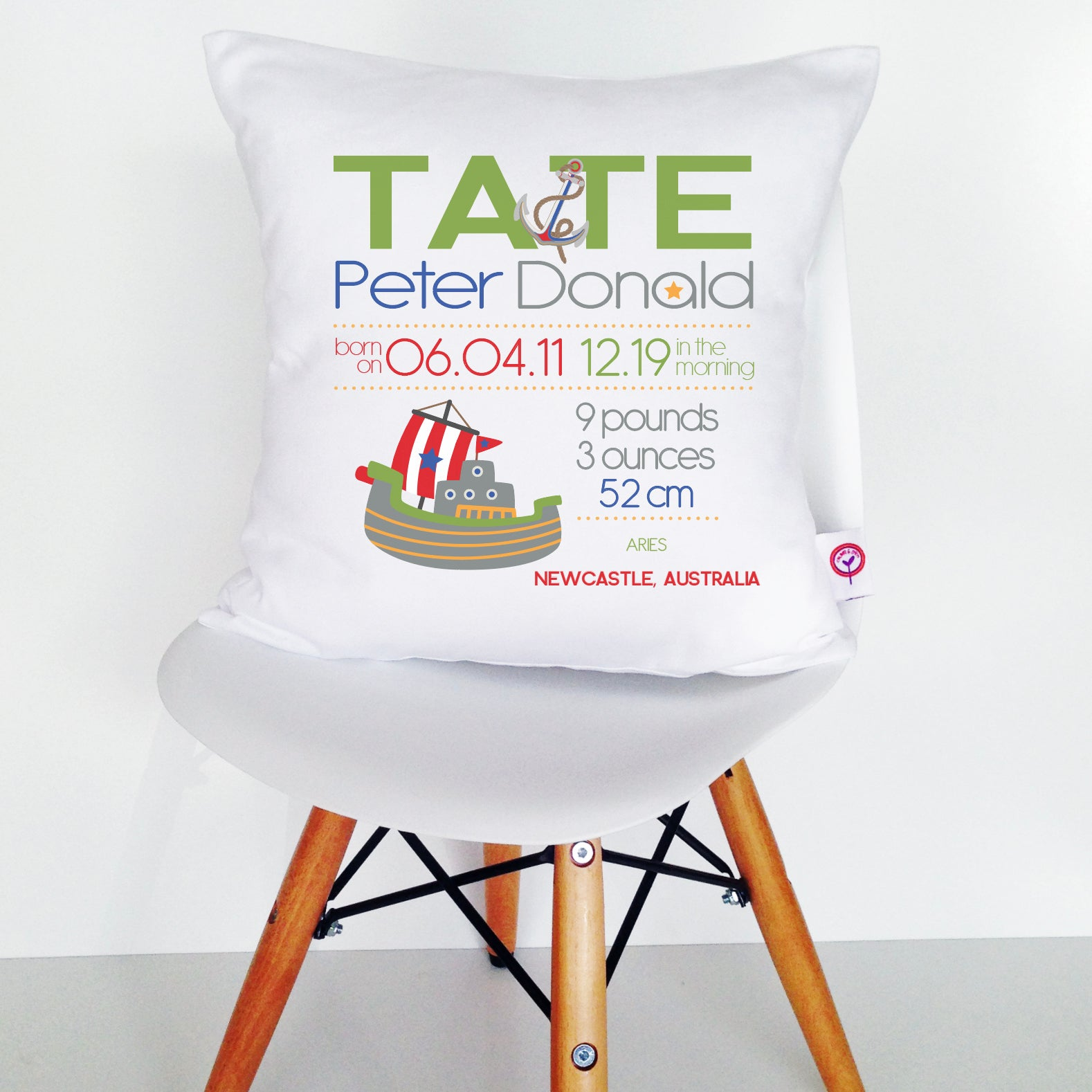 Tate Birth Details Cushion Cover
