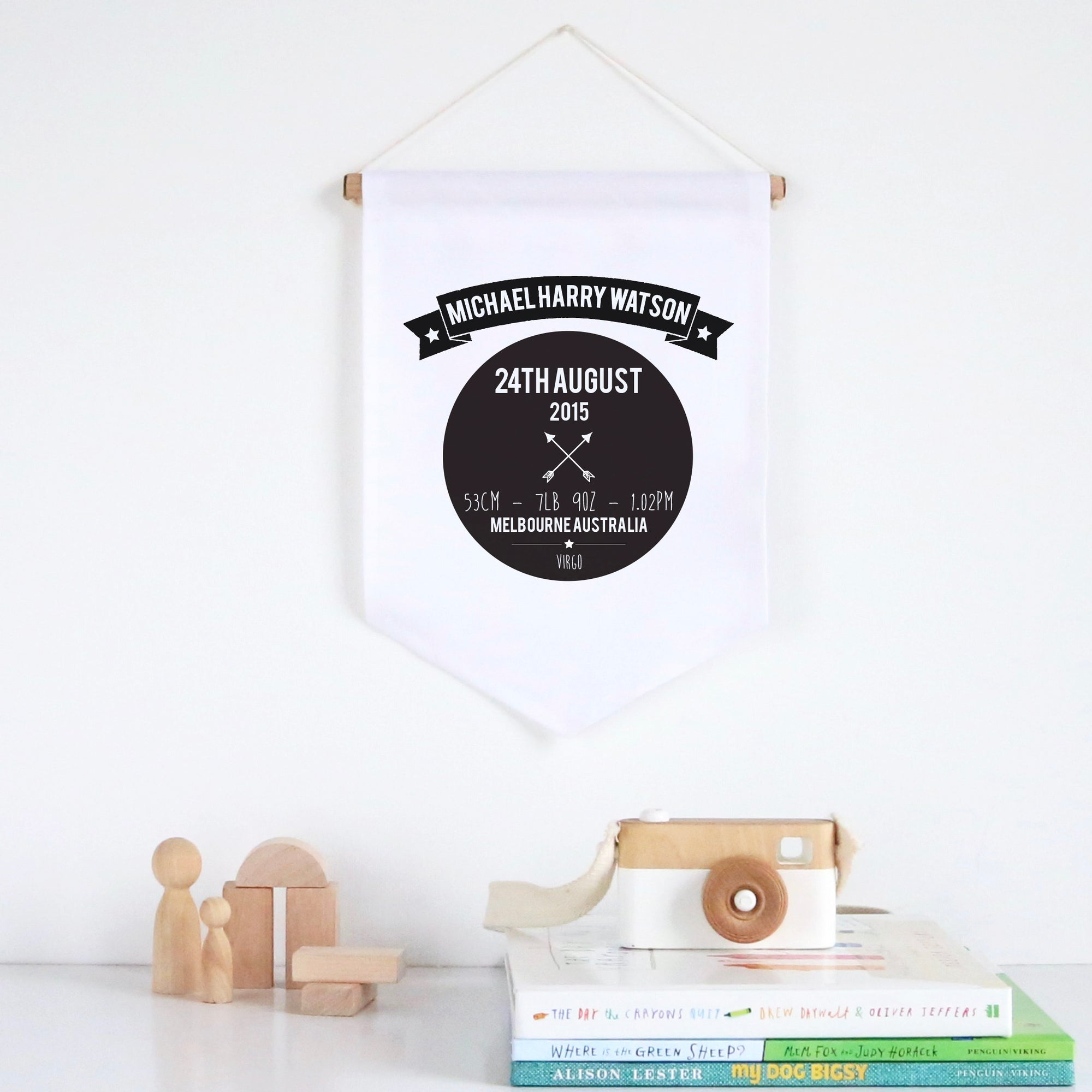Birth Details Pennant Wall Banner - Boys