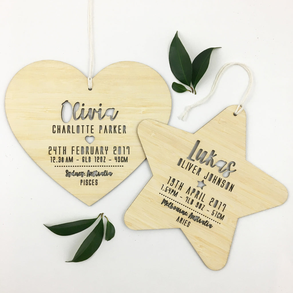 Birth Details Heart Wall Hanging - girls