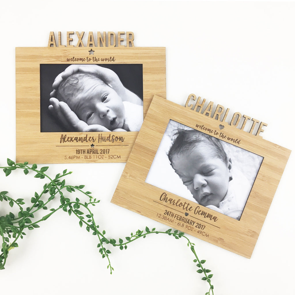 Personalised Birth Details Frame and Stand – Colour and Spice Pty Ltd