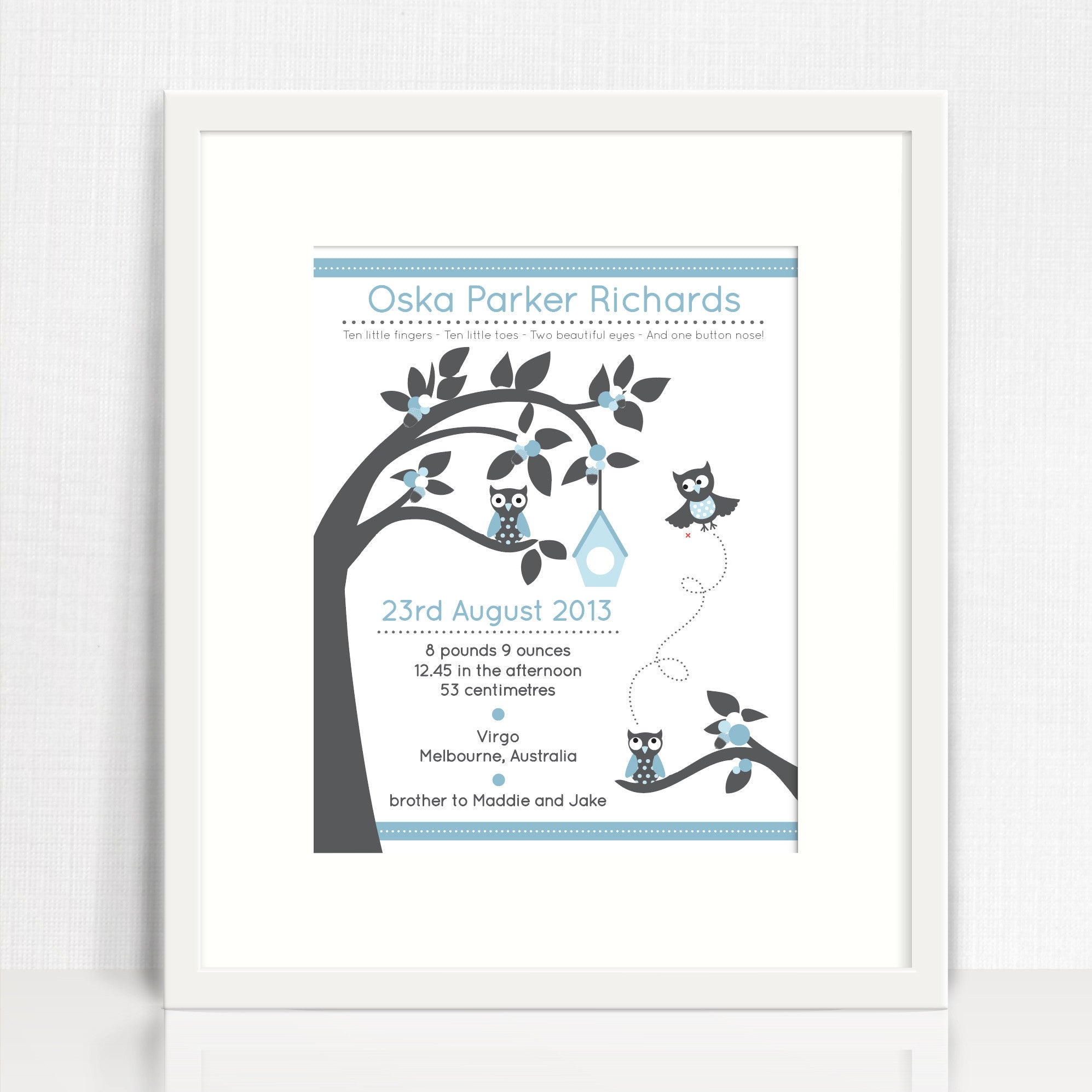 Boys' Tree And Owls Birth Print