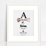 Black Acrylic Arrows Birth Print