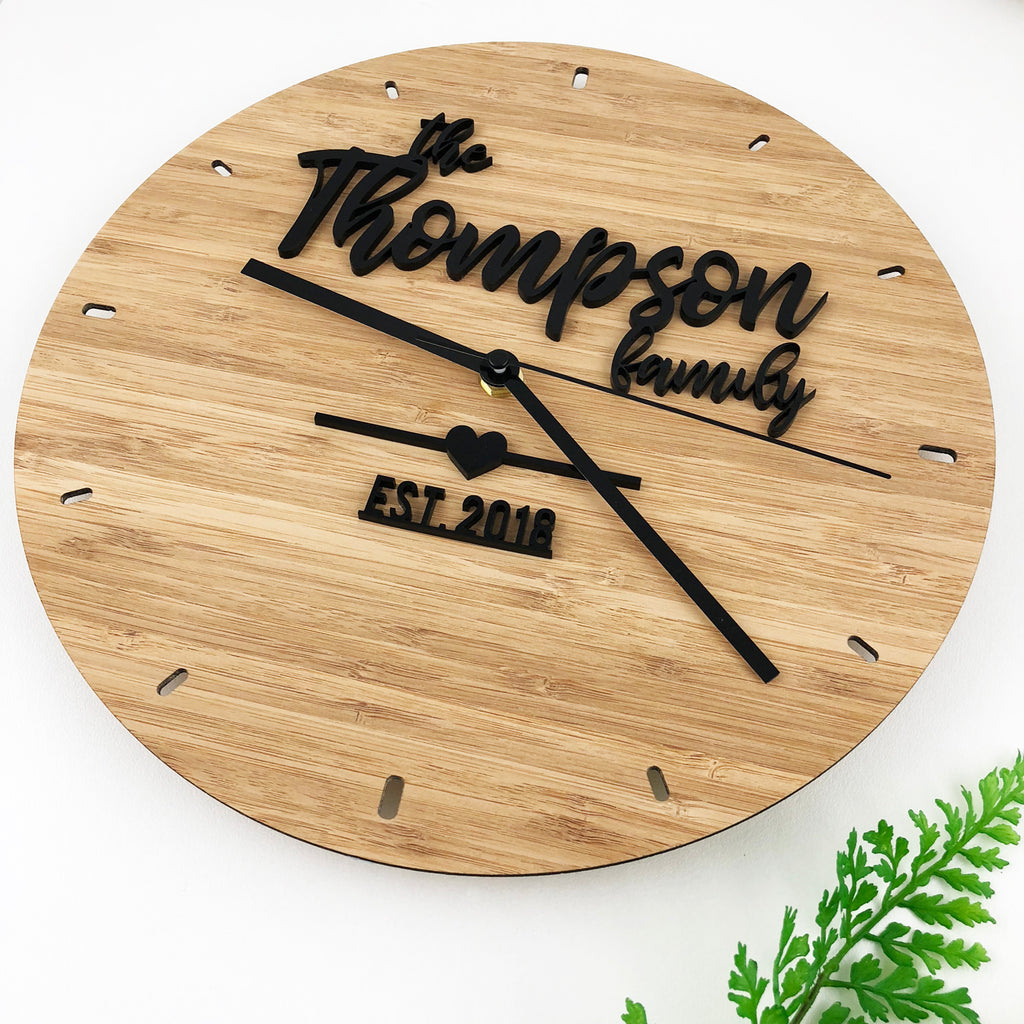 Black Script Family Bamboo Wall Clock – Colour and Spice Pty Ltd