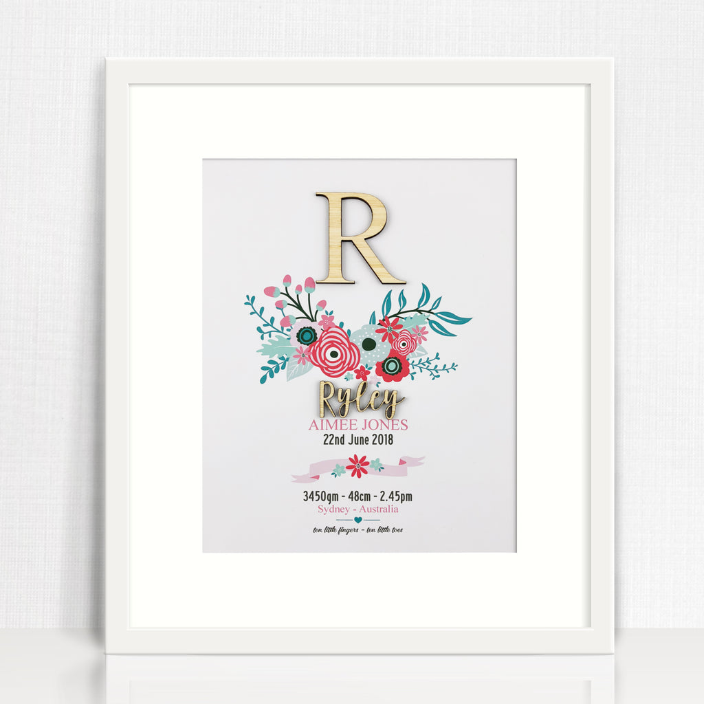 Bamboo Bright Flowers Birth Print