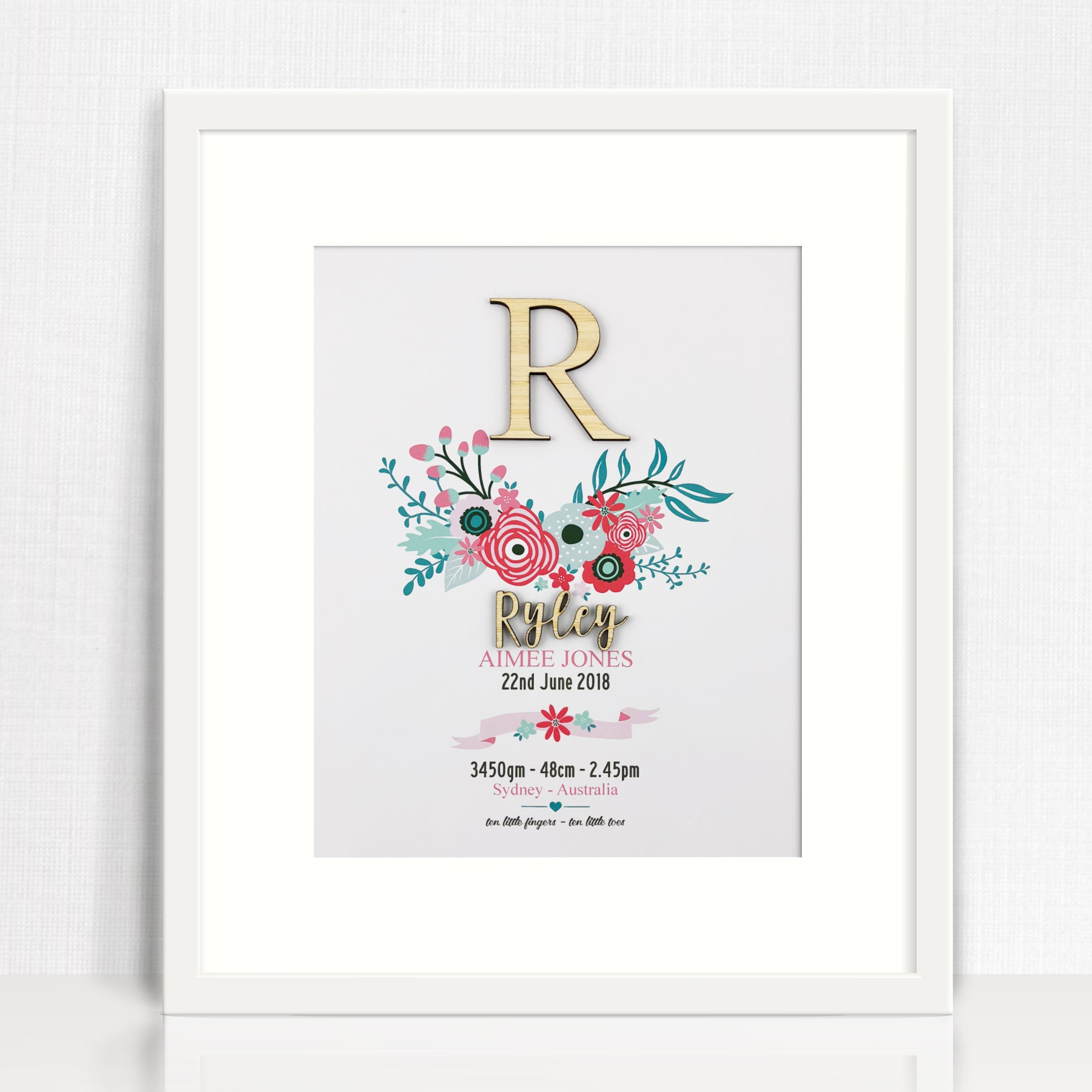 Bamboo (2 colour options) Bright Flowers Birth Print