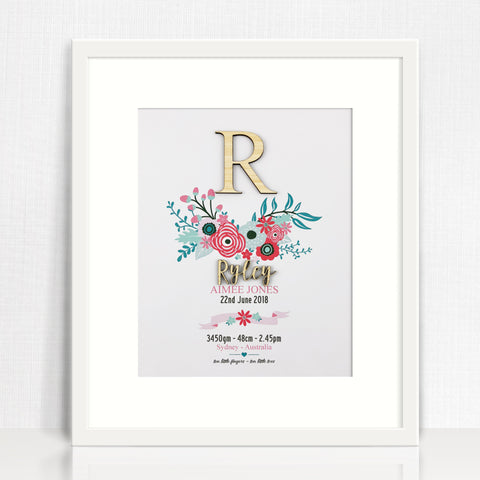 Bamboo Flowers Birth Print