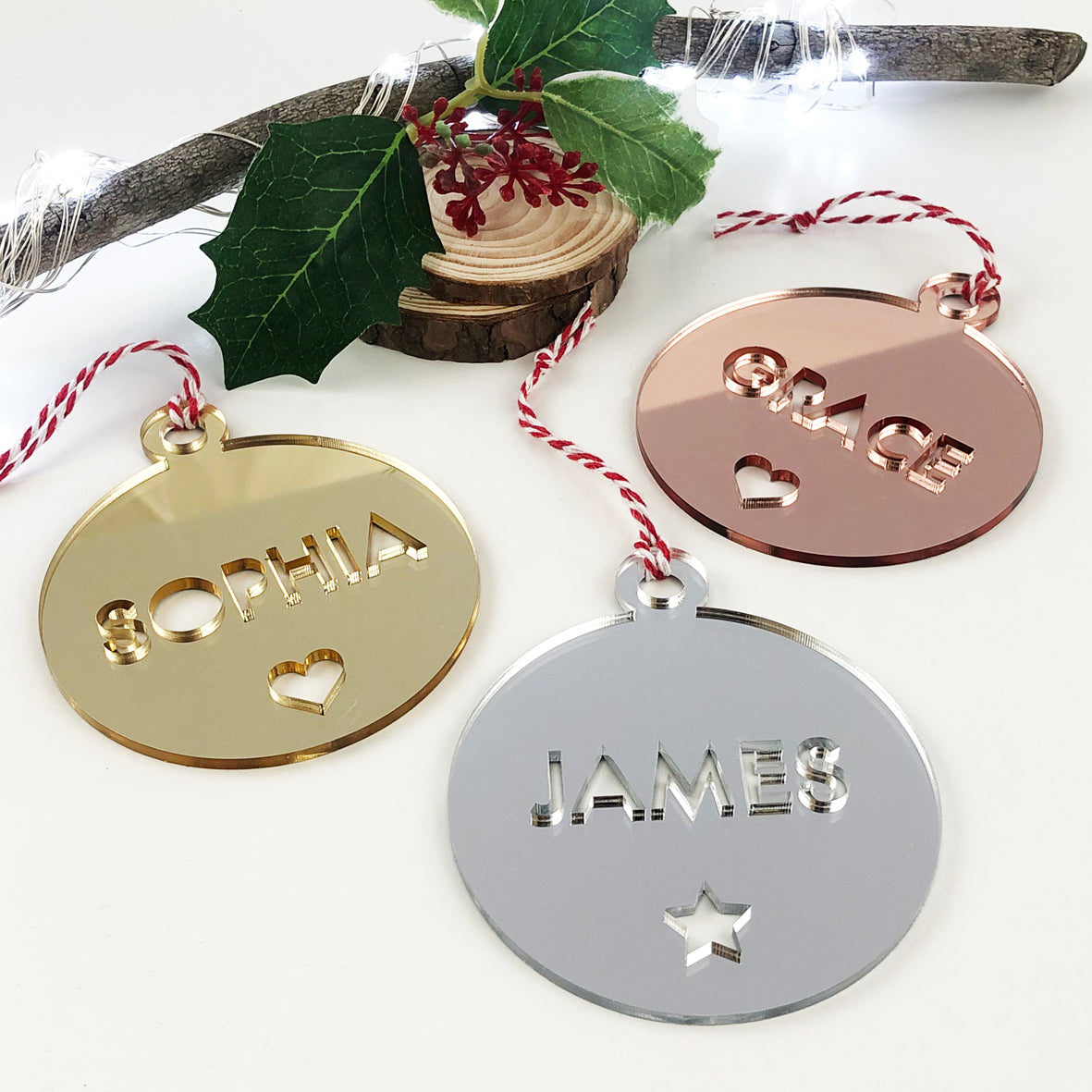 Bold Name Mirror Ornaments (3 colour options)