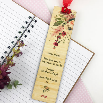 Floral Printed Ribbon Bamboo Bookmark