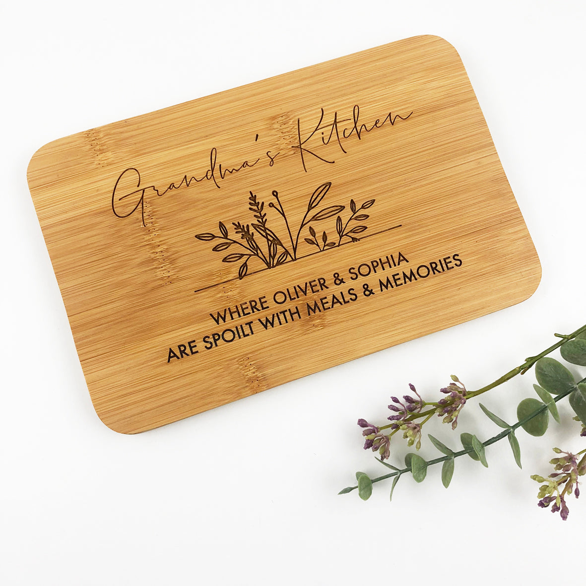 Kitchen Botanical Bamboo Serving Board