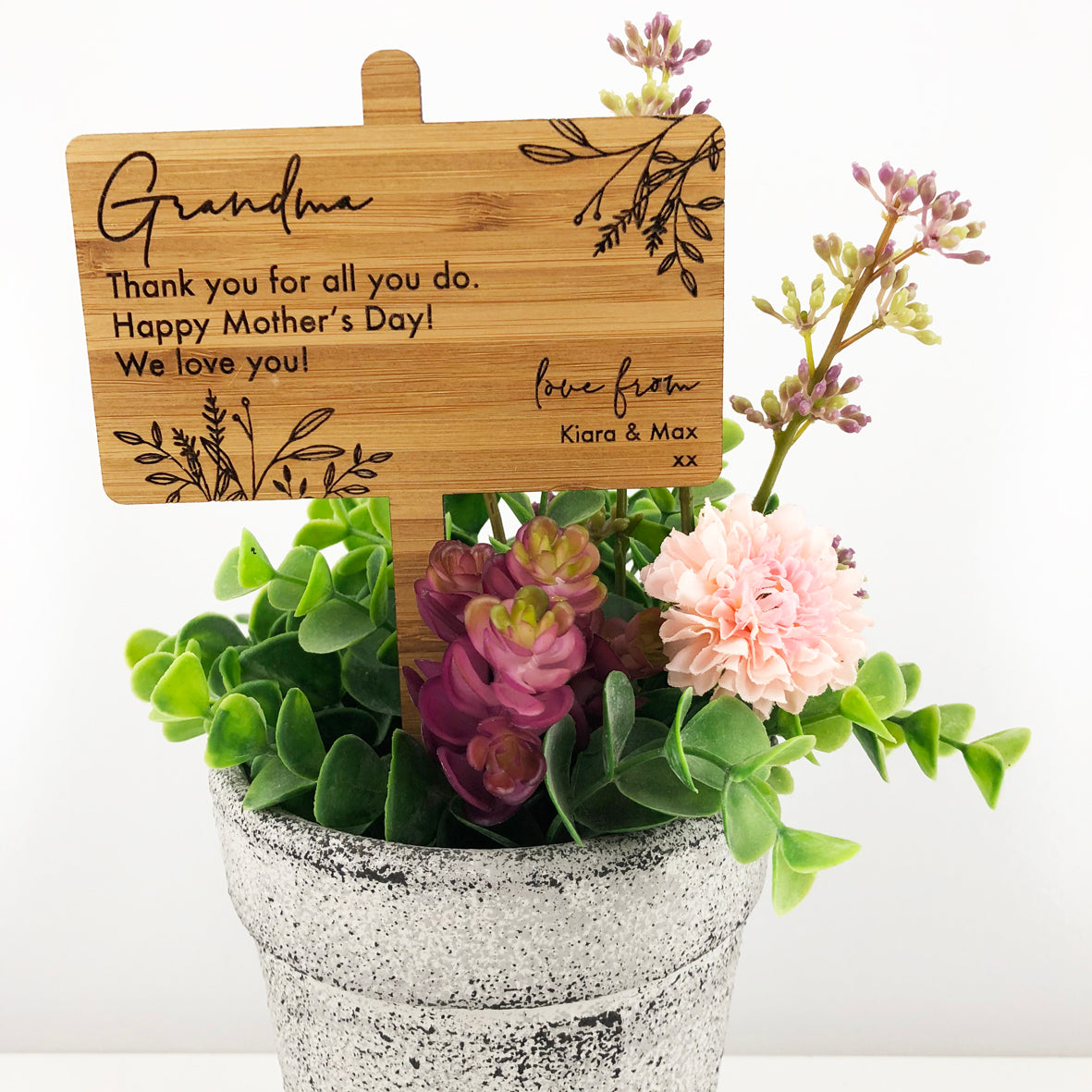 Botanical Personalised Bamboo Planter Stick
